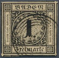 Baden - Marken Und Briefe: 1851, Ziffern 1 Kr. Schwarz Auf Graugelb, Erste Auflage Auf Dünnem Papier - Baden