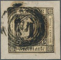 Baden - Marken Und Briefe: 1851, Ziffern 1 Kr. Schwarz Auf Altelfenbein, Dünnes Papier Der Ersten Au - Baden