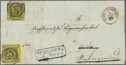 """Baden - Marken Und Briefe: 1851, 3 Kr. Schwarz Auf Gelb Mit Nummer """"99"""" Auf Komplettem Faltbrief Aus - Baden"""