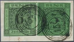 Baden - Marken Und Briefe: 1851/53, Ziffernausgabe 6 Kr. Schwarz Auf Grün Und 1853, 3 Kr. Schwarz Au - Baden