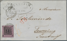 """Baden - Marken Und Briefe: 1851 Ziffern 9 Kr. Mit Nr.St. """"174"""" Auf Brief Von Mannheim 18.8.60 Nach T - Baden"""