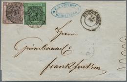 """Baden - Marken Und Briefe: 1851, Ziffern 9 Kr. Auf Lilarosa + 1853, 3 Kr. Auf Grün Von """"HEIDELBERG 1 - Baden"""