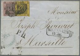 Baden - Marken Und Briefe: 1855, Brief Mit 9 Kr. Schwarz Auf Lilarosa Und Leicht überlappend Geklebt - Baden