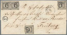 Baden - Marken Und Briefe: 1853, Ziffernausgabe 1 Kr. Schwarz Auf Weiß Als Paar Und Zwei Einzelmarke - Baden