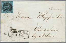 Baden - Marken Und Briefe: 1858, Ziffernausgabe 3 Kr. Schwarz Auf Blau, Einzelfrankatur Mit Frühdatu - Baden