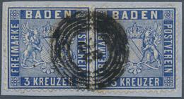 Baden - Marken Und Briefe: 1860, 3 Kr. Wappen, Briefstück Mit Zwei Einzelnen Exemplaren In Der Guten - Baden