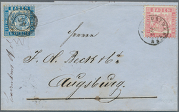 """Baden - Marken Und Briefe: 1862, Wappen Auf Weißem Grund 6 Kr. Preussischblau Mit Nr.-St """"45"""" Und 3 - Baden"""