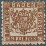 Baden - Marken Und Briefe: 1862, Wappen Auf Weissem Grund 9 Kr. In Seltener C-Farbe Dunkelbraun, Ung - Baden