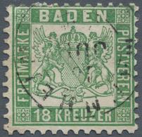 """Baden - Marken Und Briefe: 1862, Wappen 18 Kr. (hell)grün Mit Zentrischem K1 """"MANNHEIM 18 JUL"""", Farb - Baden"""