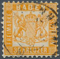 Baden - Marken Und Briefe: 1862, 30 Kr. Wappen Mit Weißem Hintergrund Gelborange Mit Zentrischem K1 - Baden