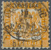 """Baden - Marken Und Briefe: 1862, Wappen 30 Kr. Dunkelgelblichorange Mit K1 """"HEIDELBERG 19 OCT"""" In Gu - Baden"""