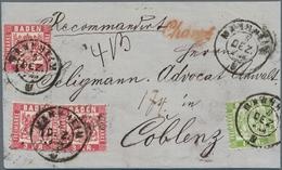 """Baden - Marken Und Briefe: 1868, Wappen 1 Kr. Grün Und 3x 3 Kr. Rot Auf Faltbrief Mit K2 """"MANNHEIM 5 - Baden"""
