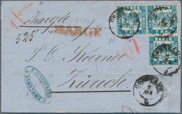 """Baden - Marken Und Briefe: 1868, Dreimal 7 Kr. Blau Auf Charge-Brief Von """"CONSTANZ 3 APR (1870)"""" Nac - Baden"""
