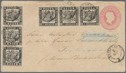"""Baden - Ganzsachen: 1864, GA-Umschlag 3 Kr. Rosa Mit ZWEI DREIERSTREIFEN 1 Kr. Schwarz Von """"HEIDELBE - Baden"""