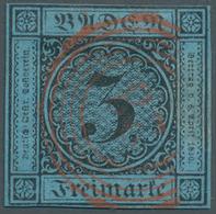 """Baden - Nummernstempel: """"28"""" - Durlach In Rot Zentriert Bzw. Klar Auf 3 Kr. Schwarz Auf Blau, Vollra - Baden"""