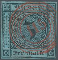 """Baden - Nummernstempel: """"115"""" Rastatt In Rot, Ideal Zentriert Bzw. Glasklar Auf 3 Kr. Schwarz Auf Bl - Baden"""