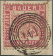 """Baden - Nummernstempel: """"147"""" - Albbrück, Klar Und Vollständig Auf Briefstück Mit 3 Kr. Rosakarmin M - Baden"""