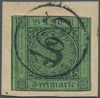 """Baden - Nummernstempel: """"165"""" - RITTERSBACH, Einkreisstempel In Schwarz Auf 3 Kr. Schwarz Auf Grün A - Baden"""