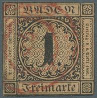 "Baden - Ortsstempel: 1851, ""LADENBURG"" Roter Fünfringstempel Mit Ortsnummer ""78"" Auf Mi.Nr.: 1 B Mit - Baden"