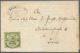 "Baden - Postablagestempel: 1868, 1 Kr Hellgrün, EF Auf Kompletter Faltdrucksache Mit Oval-Stpl. ""PFO - Baden"