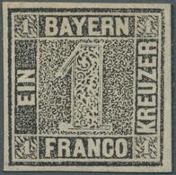 Bayern - Marken Und Briefe: 1849, Schwarzer Einser 1 Kreuzer Schwarz Platte 1, Ungebraucht Mit Origi - Bavaria