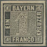 Bayern - Marken Und Briefe: 1849, Schwarzer Einser 1 Kreuzer Schwarz Platte 1 Mit Plattenfehler: Lin - Bavaria