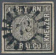 """Bayern - Marken Und Briefe: 1849, Schwarzer Einser 1 Kreuzer Grauschwarz, Platte 1 Mit GMR """"73"""" (Ems - Bavaria"""