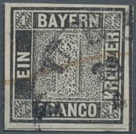 """Bayern - Marken Und Briefe: 1849, Schwarzer Einser 1 Kreuzer Schwarz, Platte 1 Gestempelt Mit HK """"FÜ - Bavaria"""