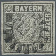 Bayern - Marken Und Briefe: 1849, Schwarzer Einser 1 Kreuzer Grauschwarz, Platte 1 Mit Zentrischem G - Bavaria