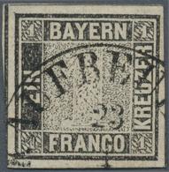 """Bayern - Marken Und Briefe: 1849, Schwarzer Einser 1 Kreuzer Schwarz, Platte 1 Mit HK """"KAUFBEUREN 23 - Bavaria"""