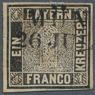 """Bayern - Marken Und Briefe: 1849, Schwarzer Einser 1 Kreuzer Schwarz, Platte 1 Mit L2 """"MÜN(CHEN) 26 - Bavaria"""