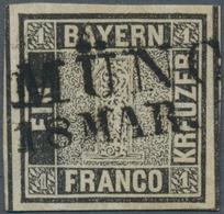 """Bayern - Marken Und Briefe: 1849, Schwarzer Einser 1 Kreuzer Schwarz, Platte 1 Mit Klarem L2 """"MÜNCH( - Bavaria"""