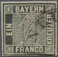 Bayern - Marken Und Briefe: 1849, Schwarzer Einser 1 Kreuzer Schwarz, Platte 1 Mit HK Von Neu-Ulm Un - Bavaria