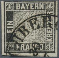 """Bayern - Marken Und Briefe: 1849, Schwarzer Einser 1 Kreuzer Schwarz, Platte 1 Mit L2 """"..CHBERG 30/7 - Bavaria"""