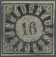 """Bayern - Marken Und Briefe: 1849, Schwarzer Einser 1 Kreuzer Grauschwarz, Platte 1 Mit GMR """"16"""" (Au - Bavaria"""