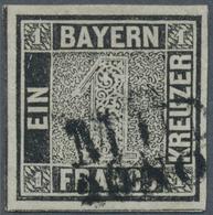 Bayern - Marken Und Briefe: 1849, Schwarzer Einser 1 Kreuzer Schwarz, Platte 1 Mit Bisher Unbekannte - Bavaria