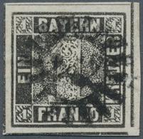 Bayern - Marken Und Briefe: 1849, Schwarzer Einser 1 Kreuzer Grauschwarz, Platte 1 Vom Rechten Unter - Bavaria