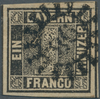 Bayern - Marken Und Briefe: 1849, Schwarzer Einser 1 Kreuzer Grauschwarz, Platte 1 Mit Fast Zentrisc - Bavaria