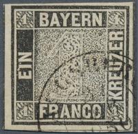 """Bayern - Marken Und Briefe: 1849, Schwarzer Einser 1 Kreuzer Schwarz, Platte 1 Mit K2 """"AUGSBURG 2 FE - Bavaria"""