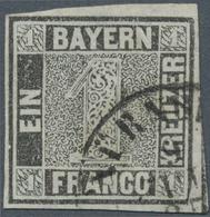 """Bayern - Marken Und Briefe: 1849, Schwarzer Einser 1 Kreuzer Grauschwarz, Platte 1 Mit K2 """"NÜRNB(ERG - Bavaria"""