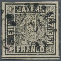 Bayern - Marken Und Briefe: 1849, Schwarzer Einser 1 Kreuzer Grauschwarz, Platte 1 Vom Unterrand Mit - Bavaria