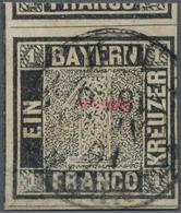 Bayern - Marken Und Briefe: 1849, Schwarzer Einser 1 Kreuzer Schwarz, Platte 1 Mit Zweikreisstempel, - Bavaria