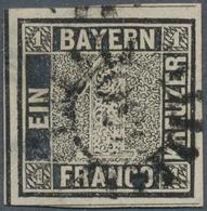 Bayern - Marken Und Briefe: 1849, 1 Kr. Schwarz, Platte 1, Allseits Sehr Breitrandig Mit Zweiseitig - Bavaria