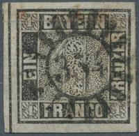 """Bayern - Marken Und Briefe: 1849, Schwarzer Einser 1 Kreuzer Schwarz, Platte 1 Mit GMR """"354"""" (Ühlfel - Bavaria"""
