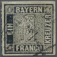 Bayern - Marken Und Briefe: 1849, Schwarzer Einser 1 Kreuzer Schwarz, Platte 1 Mit Halbkreisstempel - Bavaria