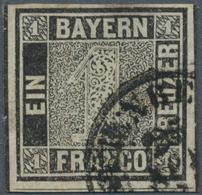 """Bayern - Marken Und Briefe: 1849, Schwarzer Einser 1 Kreuzer Schwarz, Platte 1 Mit K2 """"NÜRNBE(RG) 26 - Bavaria"""