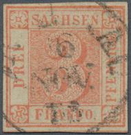 Sachsen - Marken Und Briefe: 1850 3 Pfg. Orangerot, Gebraucht In Zwickau Und Dort Mit Etwas Unklar A - Sachsen