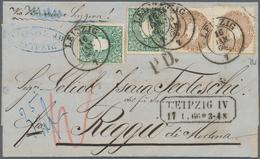 Sachsen - Marken Und Briefe: 1863, 2 X 3 Pf Grün Und 2 X 3 Ngr Gelbbraun, Entwertet Mit K2 LEIPZIG, - Sachsen