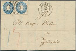 """Sachsen - Marken Und Briefe: 1863, Zweimal Wappen 2 Ngr. Blau Auf Frischem Luxus-Faltbrief Mit K2 """"L - Sachsen"""