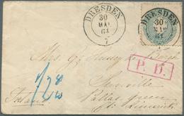 """Sachsen - Marken Und Briefe: 1863, 5 Ngr. Mit DKr. """"DRESDEN 30.MAI.64"""" Auf Kleinformatigem Couvert M - Sachsen"""